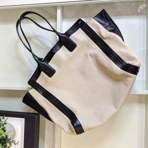 Chloe | Cream and Black Allison Leather Tote Bag
